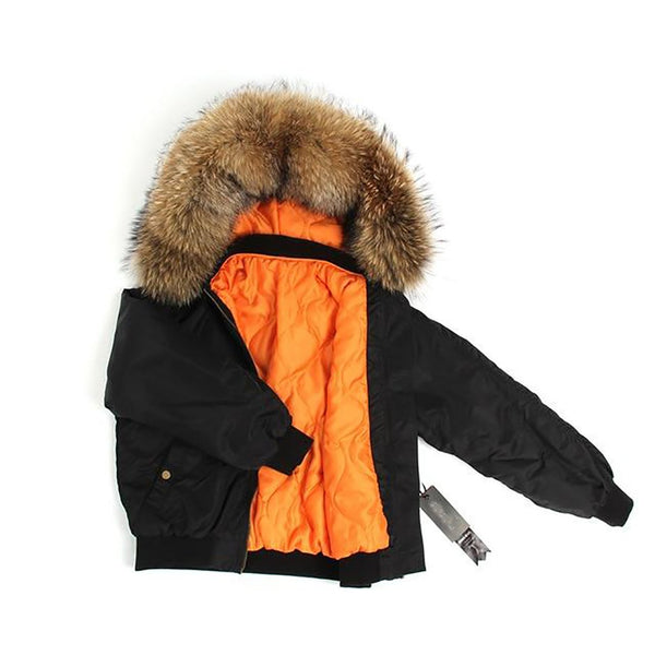 Women's Bomber Jacket Hooded Large Raccoon Fur Collar Short Basic Quilted Outwear for Winter