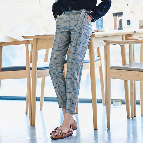 Women's Pants Grid Casual Loose Pencil Linen Plaid Ankle Length Straight for Autumn
