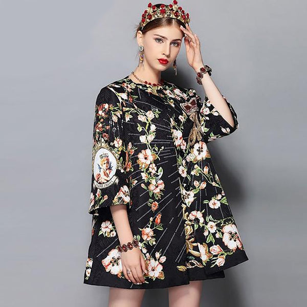 Women's Coat Single Breasted O-neck Casual Beading Crystal Printed Loose for Autumn