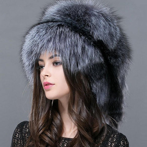Women's Hat Raccoon Fur Russian Real Fox for Winter Autumn