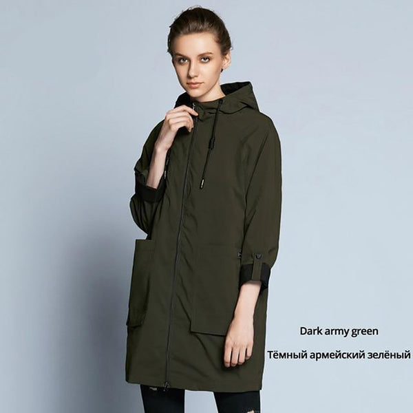 Women's Trench Coat Full Sleeves Casual Plus Size for Autumn