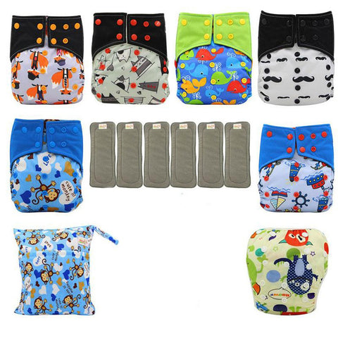Baby Cloth Diaper Washable Reusable All-in-two Pocket Adjustable with 6pcs Insert Nappies