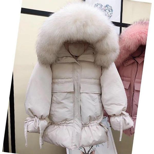 Women's Jacket White Duck Down Medium Long Slim Large Natural Raccon Fur Hooded Warm Outwear for Winter