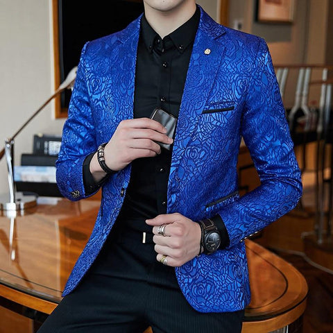 Men's Blazer Jaquard Print Slim Fit Stylish Casual for Prom Business Party Wedding
