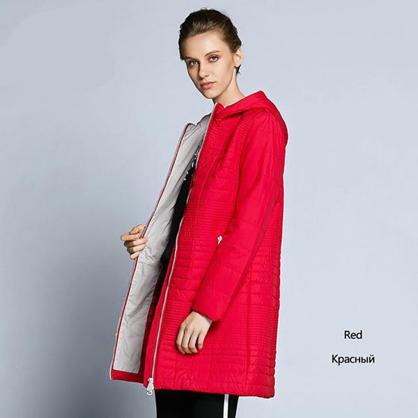 Women's Coat Long Cotton Hooded Padded for Autumn