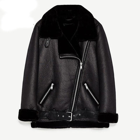 Women's Vintage Coat Faux Sheepskin Full Sleeve Zippers Regular Lenght Turn-down Collar for Winter Motorcycle