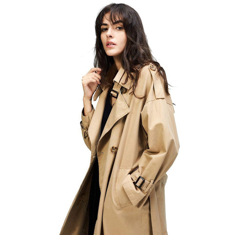 Women's Coat Casual Trench Oversize Double Breasted Vintage Washed Outwear Loose for Autumn