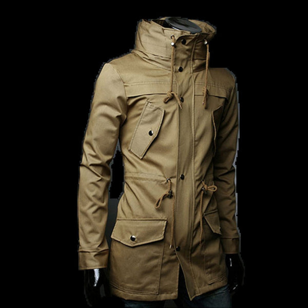 Men's Coat Casual Slim Stylish Long Trench Windbreaker