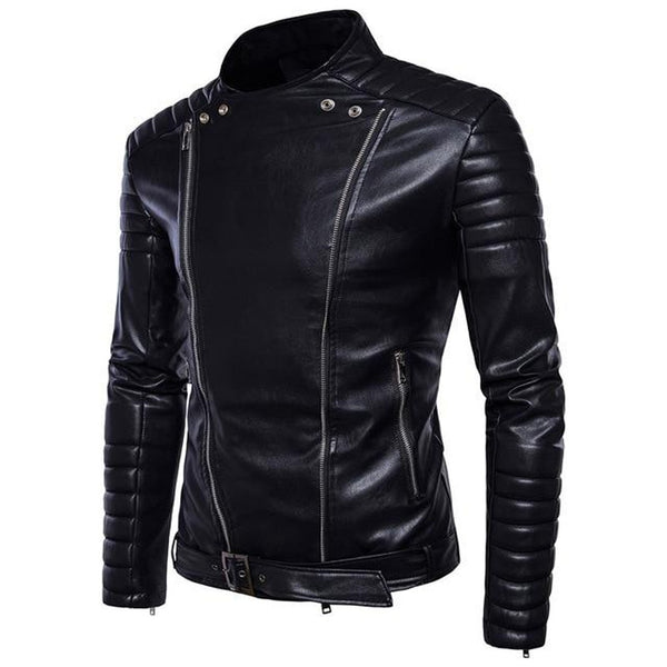 Men's Jacket Vintage Classic Retro Turn Down Collar Slim Faux Leather Biker Motorcycle