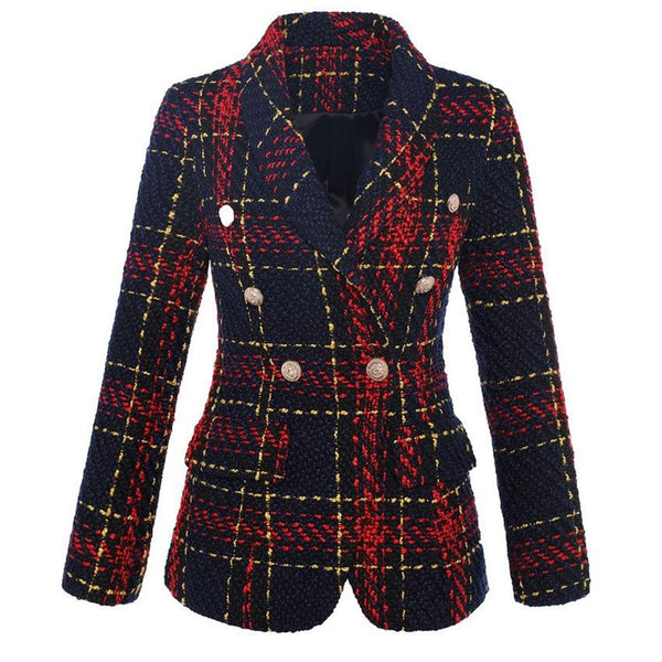 Women's Coat Stylish Double Breasted Lion Metal Buttons Plaid Tweed Wool