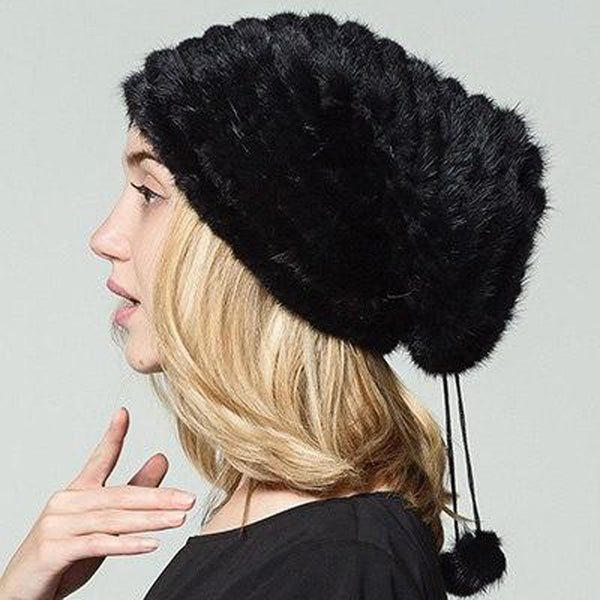 Women's Hat Mink Fur Natural Real Knitted Warm for Winter