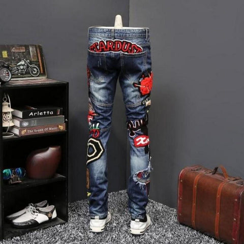 Men's Trousers Embroidery Jean Slim Fit for Nightclub Party