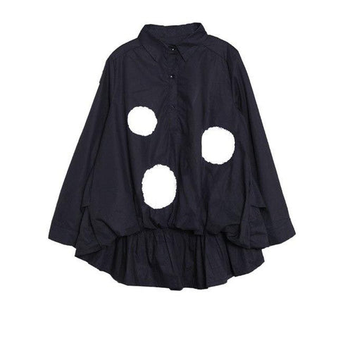 Women's Blouse Lapel Long Sleeve Single Breasted Dot Printed Loose Big Size for Autumn