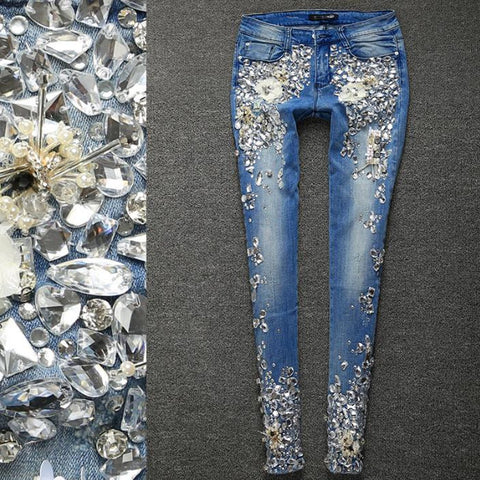 Women's Jeans Rhinestones Diamond Denim Skinny Stretch Pencil Style Slim Vintage