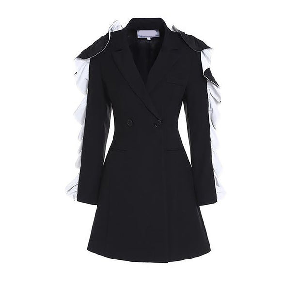 Women's Coat Button Pockets Ruffles Long Sleeve Casual Turn Down Collar for Winter Autumn