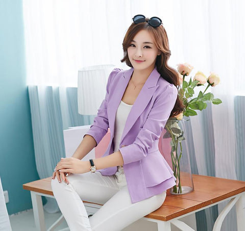 Women's Blazer Long Sleeve Notched Slim Sling Button