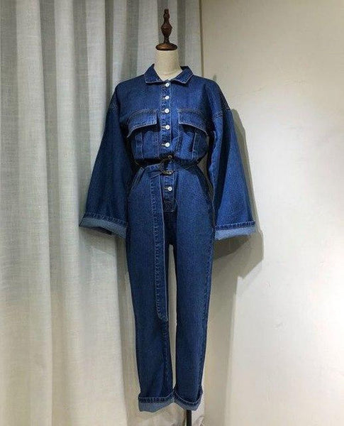 Women's Jumpsuit Full Sleeve Sashes Denim Turn Down Collar Long Jean with Belt