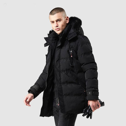 Men's Jacket Long Thick Cotton Padded Casual for Winter