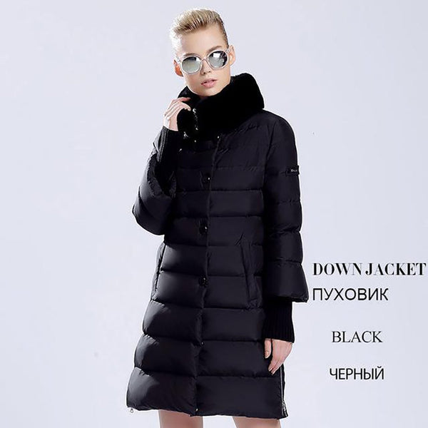 Women's Coat Duck Down Long Warm Thick Rebbit Fur Collar for Winter