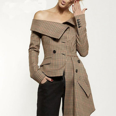 Women's Blazer Plaid Irregular Patchwork Slash Neck Long Sleeve Lace Up for Autumn