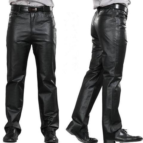 Men's Leather Pants Plus Size Straight Flat Zipper Fly Regular Motorcycle