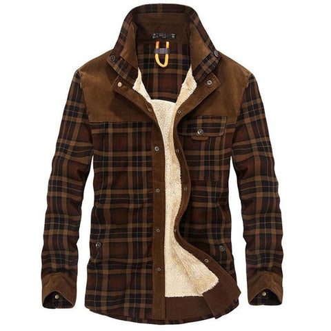 Men's Casual Coat Shirt Style 100% Cotton Liner Fleece Thick Wool Turn Down Plaid Long Sleeve for Winter