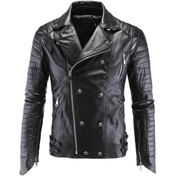 Men's Jacket Faux Leather Korean Stylish Slim Fit Moto Skull Suede for Winter