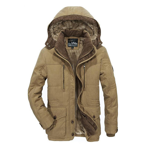 Men's Jacket Middle Age Plus Size Thick Warm Casual Hooded