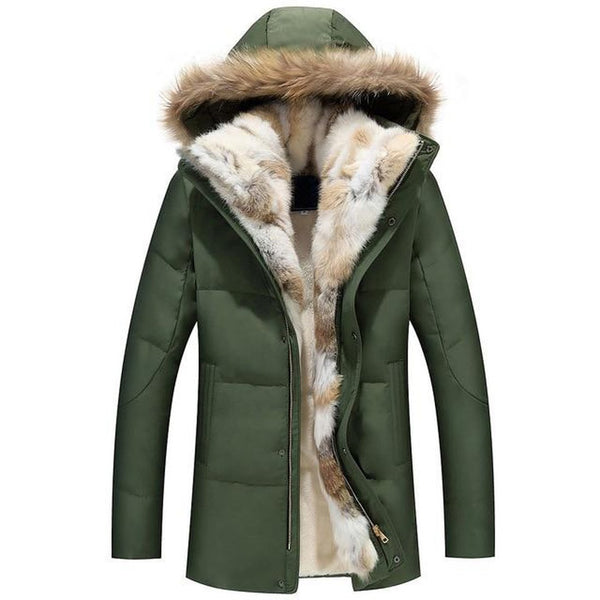 Unisex Adult's Down Jacket Detachable Fur Collar Hooded Warm Outwear Real Rabbit Raccoon Thick for Winter