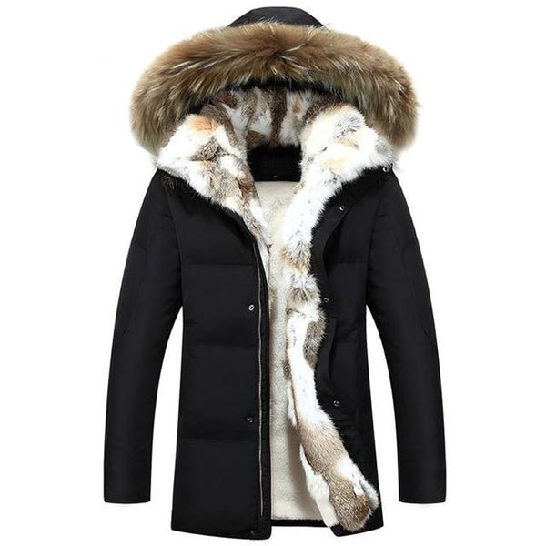 Men's Jacket Thick Warm Casual Fur Collar Hood Military Windproof White Duck Down Plus Size for Winter