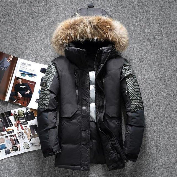 Men's Jacket Fur Hooded Duck Down Warm Casual Outwear for Winter