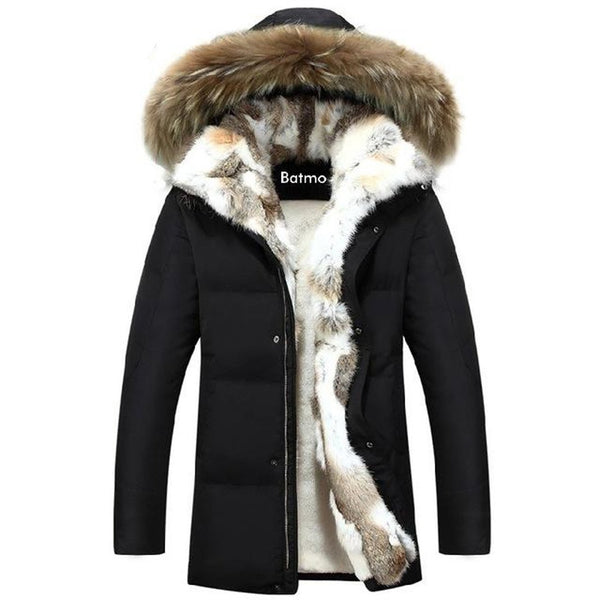 Men's Jacket Duck Down Thick Liner Warm Rabbit Fur Collar Plus Size for Winter