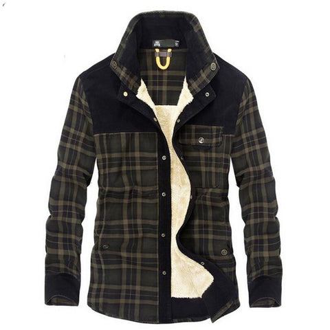 Men's Shirt Casual Wool Fleece Thick Warm Plaid Military Handwork Denim