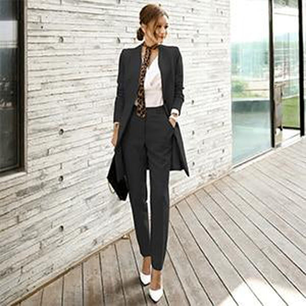 Women's Jacket and Pants Suit 2pcs/set Korean Style Uniform V-neck Long Elegant for Autumn Business Office