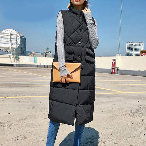 Women's Long Vest Sleeveless Down Slim Quilted Korean for Winter