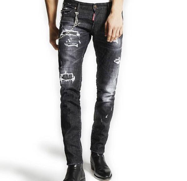 Men's Jeans Holes Stylish Straight
