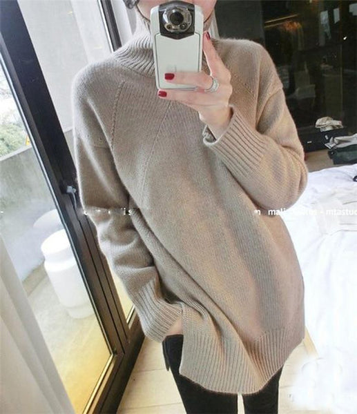 Women's Sweater Pure Cashmere Thick Warm Knit Loose High Collar Outwear for Winter