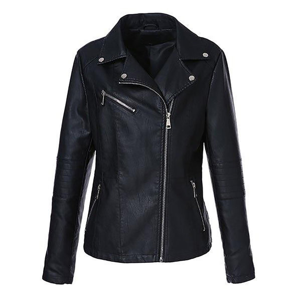 Women's Leather Jacket Plus Size Full Sleeve Turn-down Collar Zipper Short Slim for Autumn