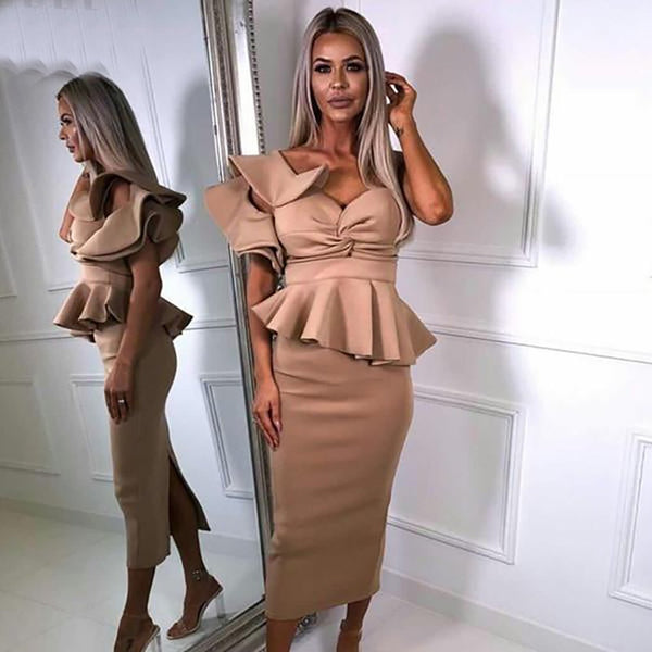 Women's Dress Bodycon One Shoulder Ruffles Short Sleeve Strapless for Evening Party