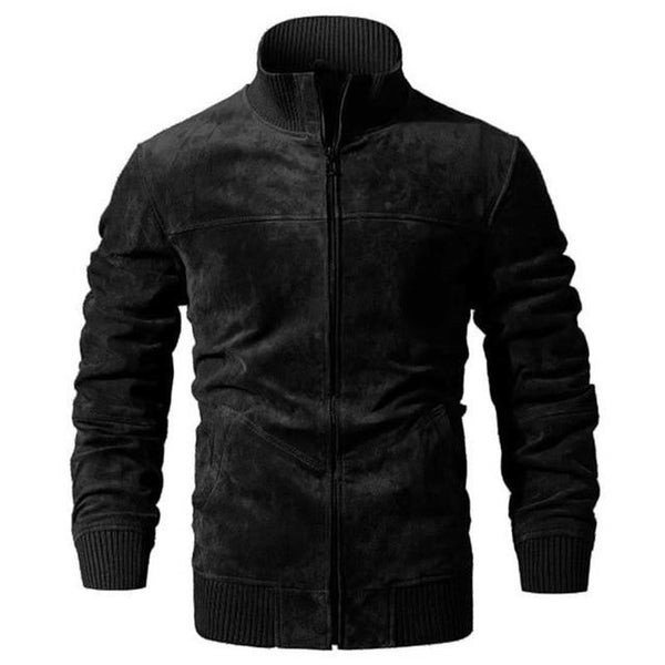 Men's Real Leather Jacket Pigskin Slim Fit with Rib Cuff Standing Collar