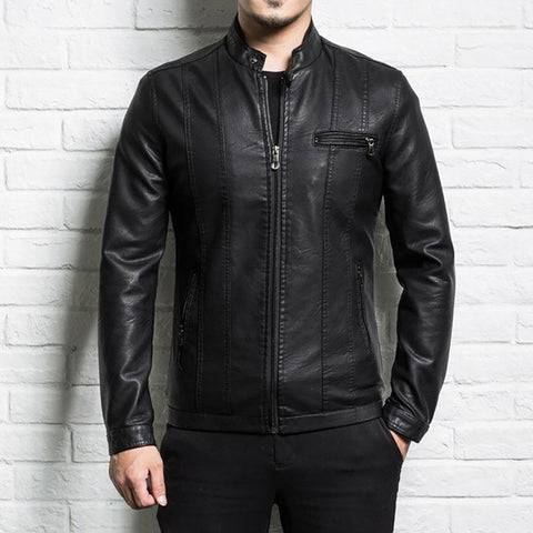 Men's Leather Jacket Sheepskin Slim Zipper for Spring Autumn Motorcycle