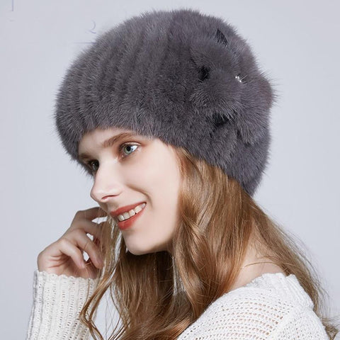 Women's Hat Real Mink Fur Rhinestone Faux Leather Flower Decoration Warm Knitted for Winter