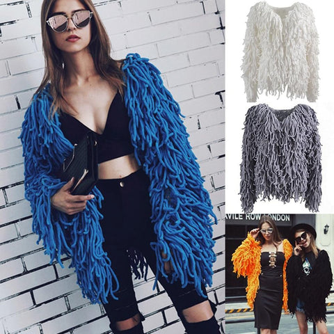 Women's Jacket Warm Knitting Long Sleeve Hairy Faux Fur Soft for Autumn Winter