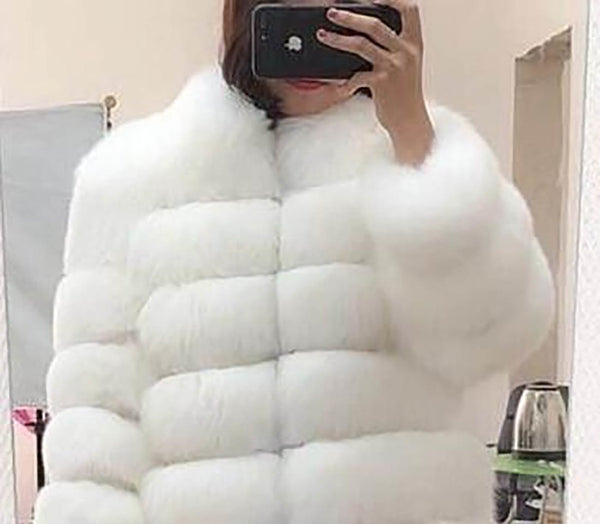 b44510f58a42e Women s Coat Faux Fox Fur Plus Size Stand Collar Long Sleeve for Winter