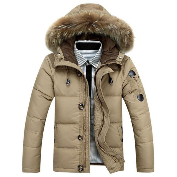 Men's Jacket 90% Duck Down Warm Outwear Hooded Fur Collar Windproof for Winter Snow