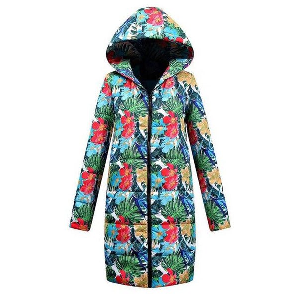 Women's Coat Print Casual Cotton Fur Thick for Winter