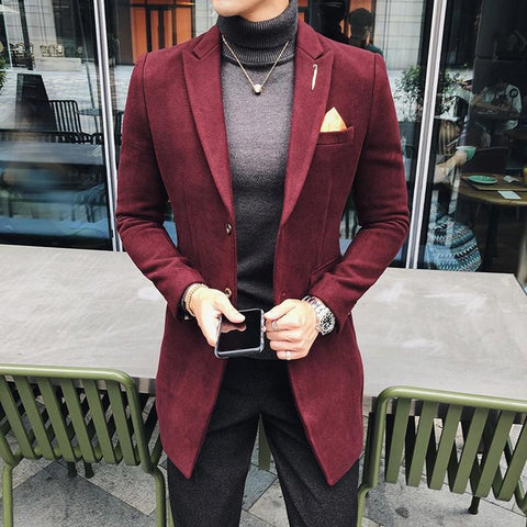 Men's Long Blazer Vintage Retro Slim Fit Casual Wool Blend