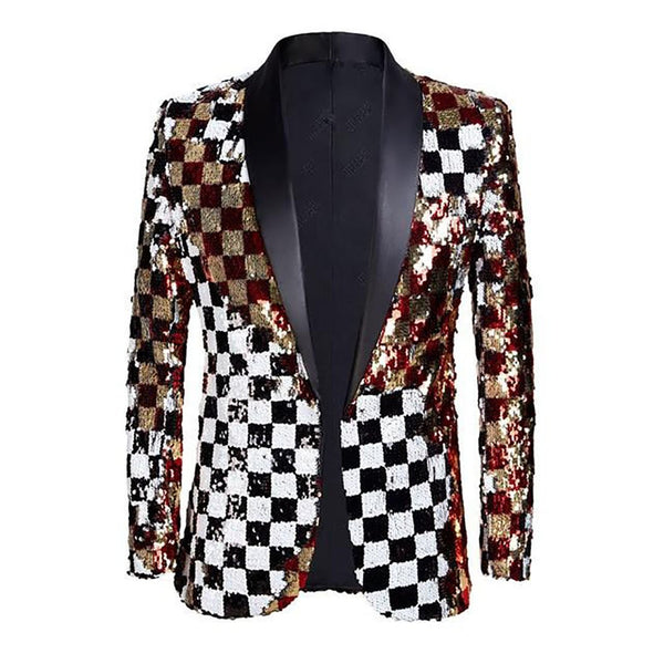 Men's Blazer Double Sided Plaid Sequins for DJ Singer
