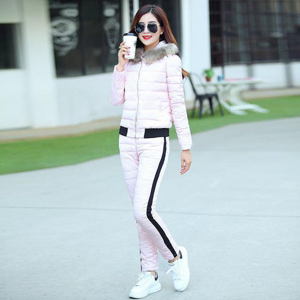 Women's Coat and Pant Set 2pcs Warm Hooded Down Cotton for Winter Autumn