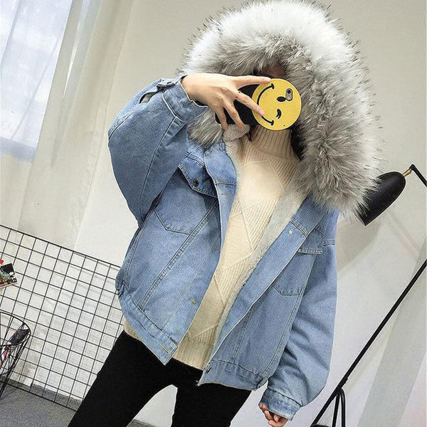 Women's Jacket Velvet Thick Denim Big Fur Collar Korean Locomotive Lamb Short for Winter